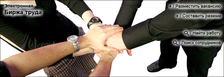 Сайт электронная Биржа труда с вакансиями от работодателей и резюме от работников, работа для молодежи